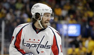 Washington Capitals center Mike Richards plays against the Nashville Predators in the first period of an NHL hockey game Tuesday, Feb. 9, 2016, in Nashville, Tenn. (AP Photo/Mark Humphrey)