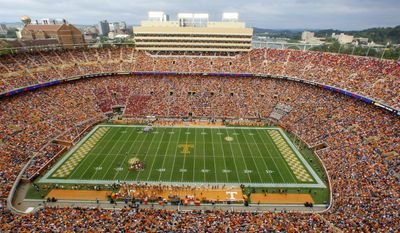 Tennessee's Neyland Stadium is seen during an NCAA college football game between Tennessee and Georgia Saturday, Oct. 10, 2015 in Knoxville, Tenn. (AP Photo/Wade Payne)
