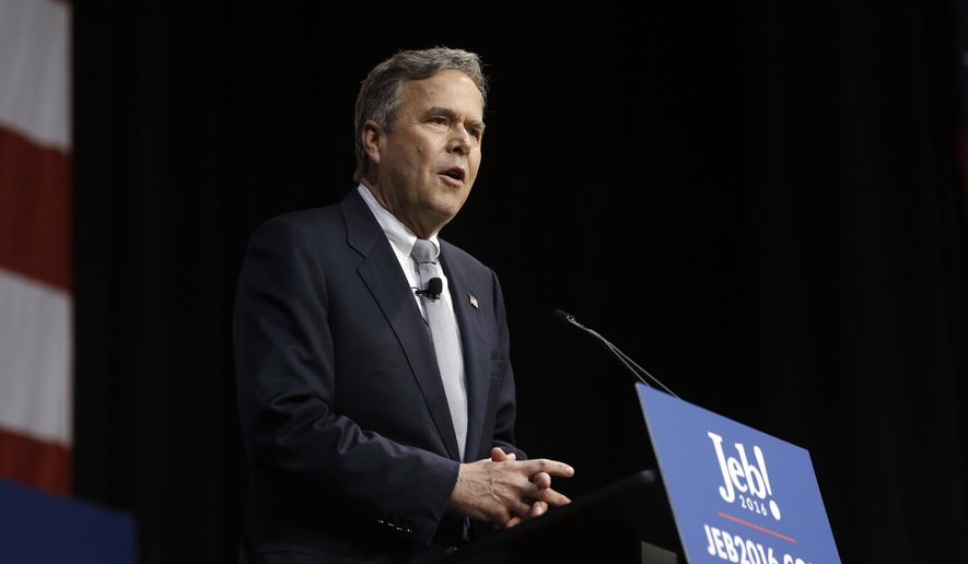 Republican presidential candidate, former Florida Gov. Jeb Bush speaks during a campaign stop Monday, Feb. 15, 2016, in North Charleston, S.C. (AP Photo/Matt Rourke) ** FILE **