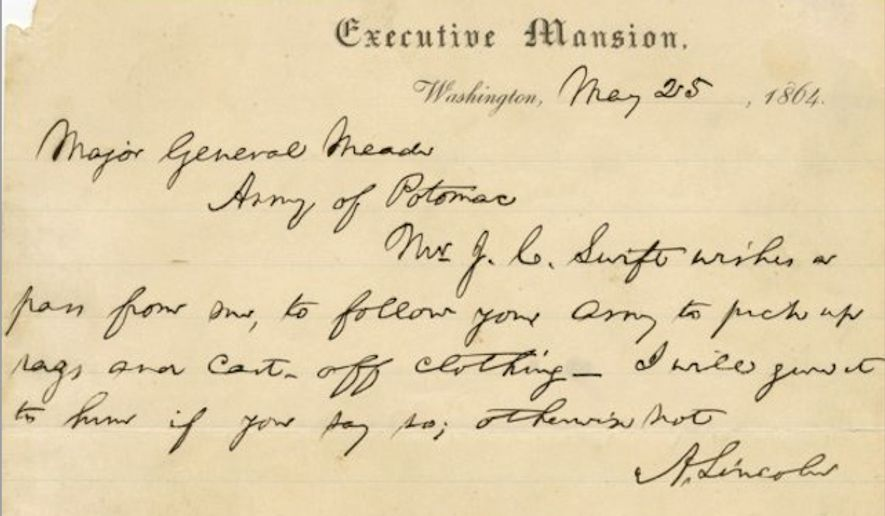 An 1864 letter from Abe Lincoln from the White House is part of the $148,000 Mount Rushmore Collection, sold By the Raab Collection. (Raab Collection)