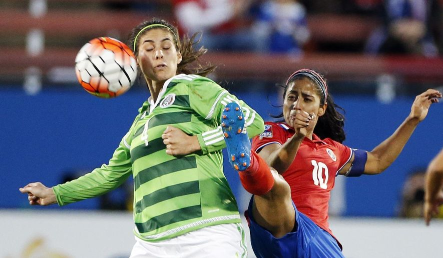 Costa Rica midfielder Shirley Cruz Trana (10) battles Mexico defender Alina Lisi Garciamendez Rowold (4) for the ball during the second half of a women's Olympic qualifying soccer match, Monday, Feb. 15, 2016 in Frisco, Texas. Costa Rica won 2-1. (AP Photo/Brandon Wade)
