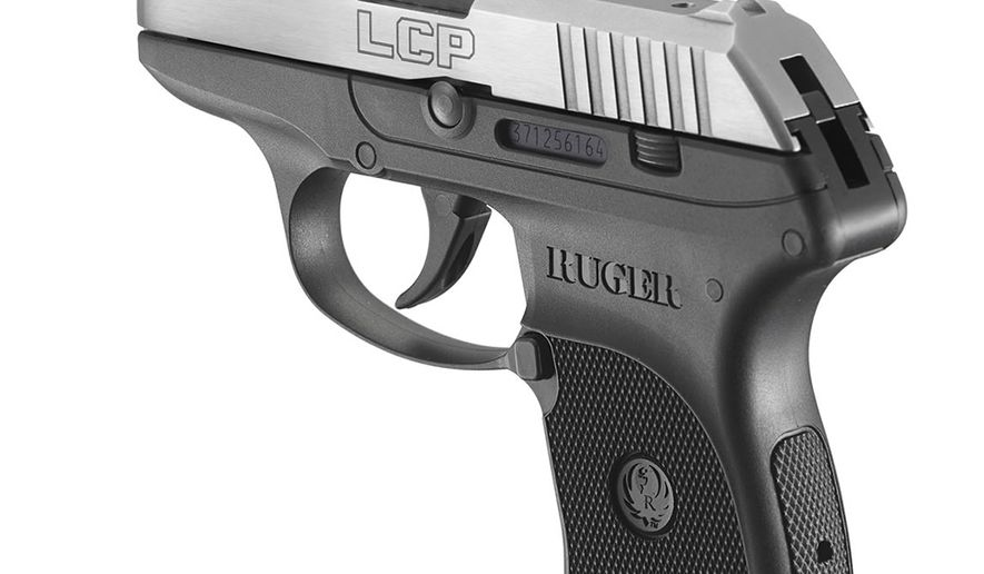 """Ruger LCP weighing just 9.4 oz this is Ruger's first entry into the field of tiny, ultra-light defensive pistols. LCP stands for """"Lightweight Compact Pistol"""" and was designed in direct response to customer requests for a compact firearm for use by police as a back-up, and as a defensive handgun for civilian concealed carry needs. The pistol has a glass-filled nylon frame, a two-finger grip, and a through-hardened blued steel slide. It is similar in appearance to the Kel-Tec P-3AT which weighs 8.3 oz. and uses a similar tension spring for the lightweight hammer, identical locked breech mechanism, and similar takedown method. The main differences are the Glock style extractor and the incorporation of an external slide stop. It is possible to tell if there is a round chambered by looking at the """"view hole"""" next to the extractor"""