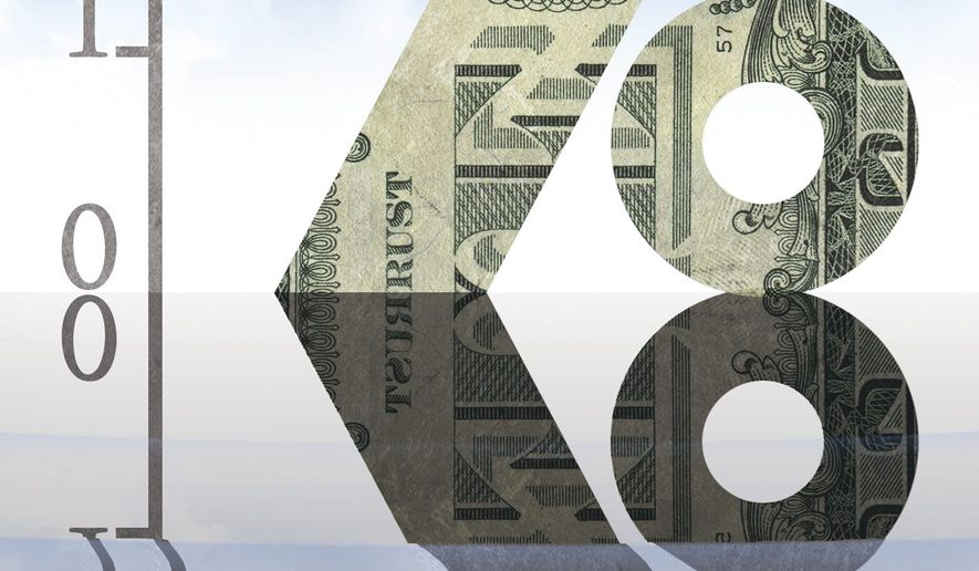 Illustration on the prospect of negative interest rates by Alexander Hunter/The Washington Times