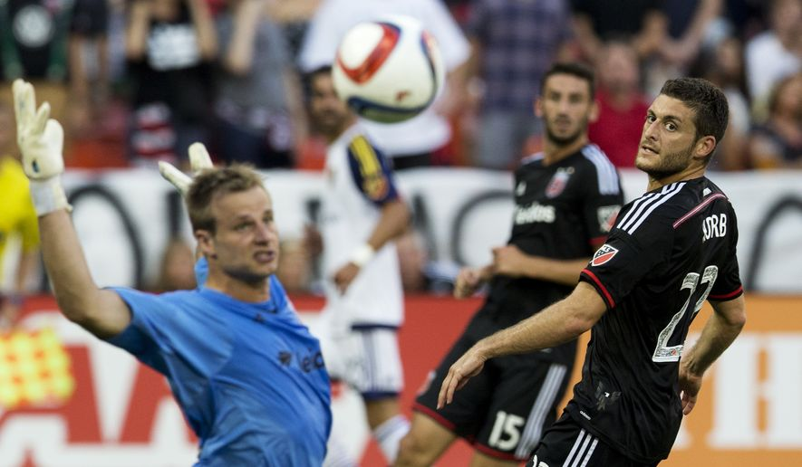 D.C. United goalkeeper Andrew Dykstra (50) and teammate defender Chris Korb (22) watch an attempt by Real Salt Lake forward Devon Sandoval (49) during the first half of an MLS soccer match in Washington, Saturday, Aug. 1, 2015. Sandoval missed to the goal.    (AP Photo/Manuel Balce Ceneta)