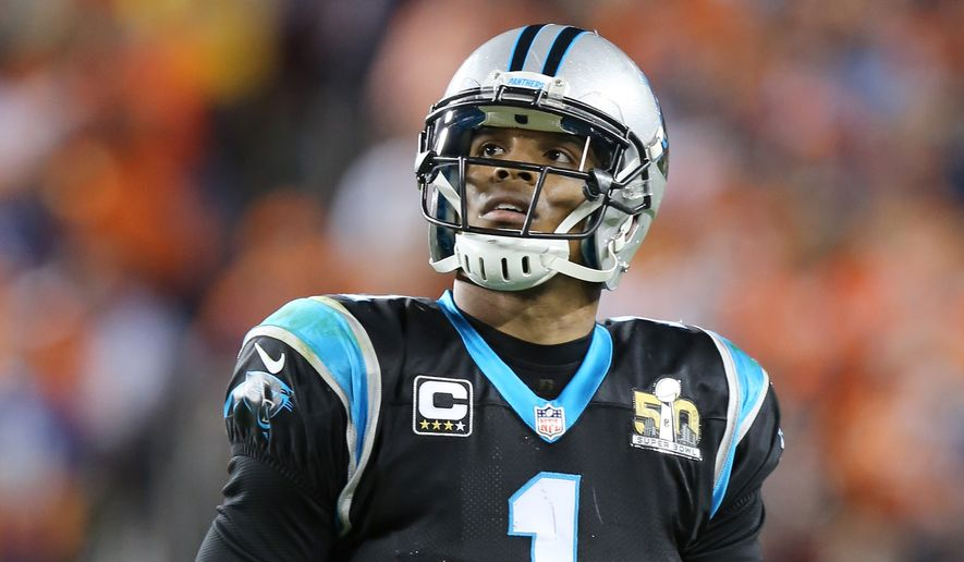 Carolina Panthers' Cam Newton (1) looks dejectedly at the scoreboard during the NFL Super Bowl 50 football game Sunday, Feb. 7, 2016, in Santa Clara, Calif.  (AP Photo/Gregory Payan)