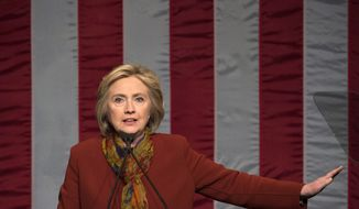 Democratic presidential candidate Hillary Clinton speaks at the Schomburg Center for Research in Black Culture, Tuesday, Feb. 16, 2016, in New York. (AP Photo/Bryan R. Smith)