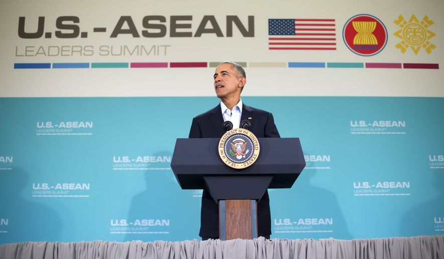President Barack Obama speaks during his news conference following the conclusion of the U.S.-Association of Southeast Asian Nations (ASEAN) leaders summit at the Annenberg Retreat at Sunnylands in Rancho Mirage, Calif., Tuesday, Feb. 16, 2016. (AP Photo/Pablo Martinez Monsivais)