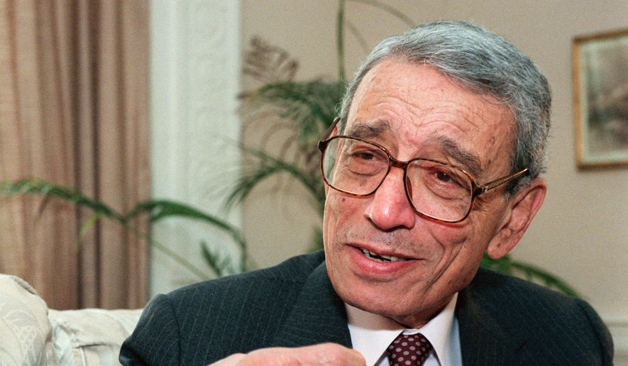 Former United Nations Secretary-General Boutros Boutros-Ghali gestures during an interview with The Associated Press on Wednesday, May 21, 1997, in New York. The U.N. Security Council has announced on Tuesday, Feb.  16, 2016 the death of former U.N. Secretary-General Boutros Boutros-Ghali. (AP Photo/Michael Schmelling, File)