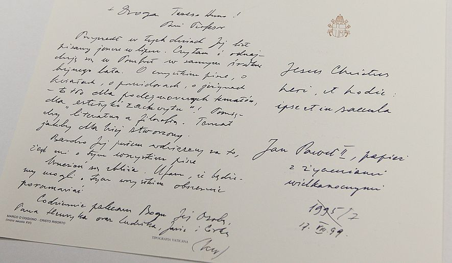 "One of hundreds of letters that Polish Cardinal Karol Wojtyla, later Pope John Paul II sent to a Polish-American philosopher  during the 32 years of joint work and friendship between the two, now  kept  at the National Library in Warsaw, Poland, on Tuesday, 16 Feb. 2016.  The library bought hundreds of letters for a ""seven-digit"" amount in 2008 from the woman, the Polish-born American thinker Anna-Teresa Tymieniecka, and is planning to have them published in the coming years.   (AP Photo/Czarek Sokolowski)"
