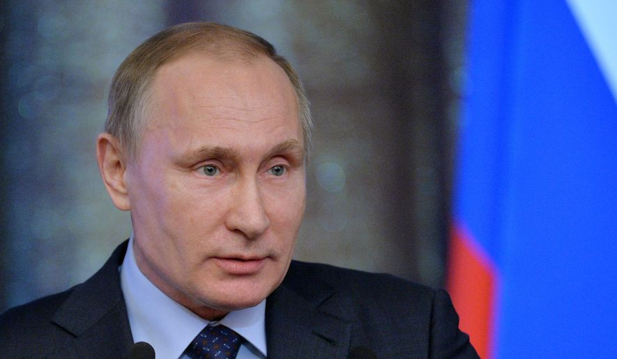 Russian President Vladimir Putin addresses a meeting of Russian judges in Moscow, Russia, Tuesday, Feb.  16, 2016. (Alexei Druzhinin/Sputnik, Kremlin Pool Photo via AP)