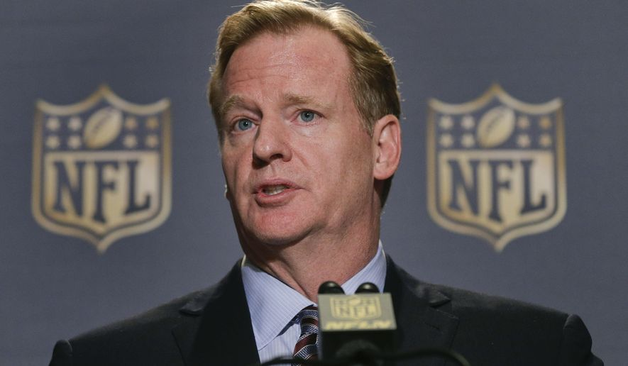 FILE - In this Oct. 7, 2015, file photo, NFL Commissioner Roger Goodell speaks during a news conference at the conclusion of the league's fall meetings, in New York.  Roger Goodell earned just over $34 million for 2014, according to the league's tax filing released Tuesday, Feb. 16, 2016. (AP Photo/Julie Jacobson, File)