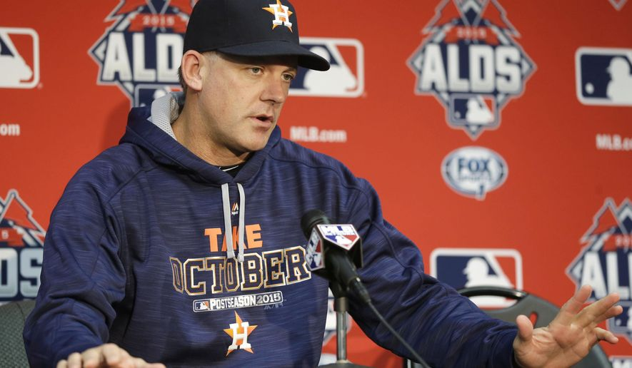 FILE - In this Oct. 13, 2015, file photo, Houston Astros manager A.J. Hinch answers a question during a news conference at Kauffman Stadium in Kansas City, Mo.  Last season was great, but it's over. That's the mindset of the Houston Astros as they prepare for the start of spring training.  (AP Photo/Orlin Wagner, File)