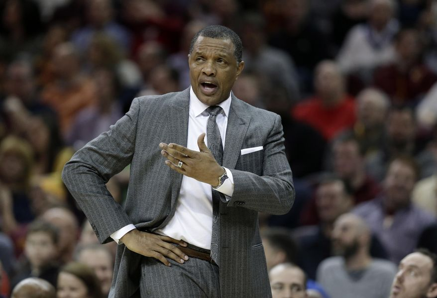 FILE - In this Feb. 6, 2016, file photo, New Orleans Pelicans head coach Alvin Gentry yells to an official in the first half of an NBA basketball game against the Cleveland Cavaliers, in Cleveland. The injury-riddled Pelicans are unlikely to be a major player in NBA trades before Thursday's deadline. Coach Alvin Gentry said that they haven't even had a chance to evaluate their current roster with so many injuries. (AP Photo/Tony Dejak, File)