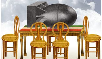 Illustration on the policy to ignore Iran's nuclear capability by Alexander Hunter/The Washington Times