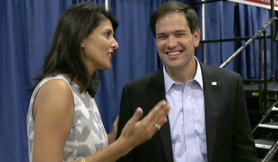 South Carolina Gov. Nikki Haley endorsed Sen. Marco Rubio's presidential bid Wednesday evening. (Associated Press)