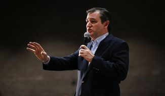 """""""I tell you this as a father of two young daughters. We will not be drafting women and forcing them into combat roles,"""" said Sen. Ted Cruz of Texas, drawing a surprisingly strong ovation at a rally in Anderson, S.C. (Associated Press)"""