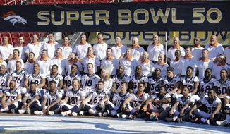 """FILE - In this Feb. 6, 2016, file photo, Denver Broncos players, coaches and front office staff pose for team photos before an NFL football walk through practice in Santa Clara, Calif. Safety David Bruton Jr., one of several Broncos set to become a free agent, wishes the NFL was more like the NBA: """"Teams such as Golden State, they get to keep everybody and try to set records, and I feel if we had the cap space we could do it."""" (AP Photo/Jeff Chiu, File)"""