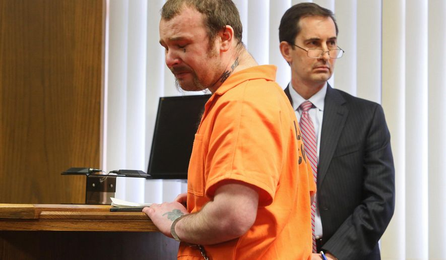 Timothy Salo appears in court Tuesday, Feb. 16, 2016, in Kalamazoo, Mich. He pleaded guilty in January and admitted that he fatally shot Jason Vanostran in April 2014 inside Salo's mobile home in Kalamazoo Township. He has been sentenced to more than 18 years in prison for second-degree murder in the man's death. (Mark Bugnaski/Kalamazoo Gazette-MLive Media Group via AP) LOCAL TELEVISION OUT; LOCAL RADIO OUT; MANDATORY CREDIT