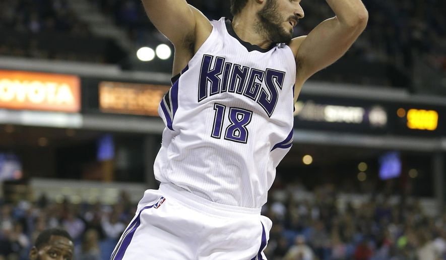 FILE - In this Nov. 3, 2015, file photo, Sacramento Kings forward Omri Casspi, of Israel, grabs a rebound during an NBA basketball game against the Memphis Grizzlies in Sacramento, Calif. When Casspi was 13, his family took him on a Bar Mitzvah trip to the United States, the highlight of which was a visit to New York City where the Israeli youngster stood in front of Madison Square Garden and boldly vowed he would one day play there. (AP Photo/Rich Pedroncelli, File)