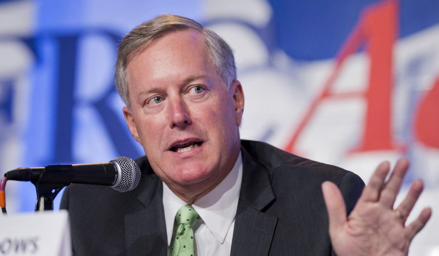 Rep. Mark Meadows, R-N.C. speaks in Washington in this Sept. 26, 2014, file photo. (AP Photo/Manuel Balce Ceneta, File)