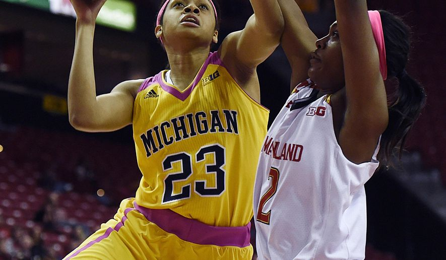 Maryland's Kiara Leslie, right, defends as Michigan's Maria Backman shoots during the first half of an NCAA college basketball game, Wednesday, Feb. 17, 2016, in College Park, Md. (AP Photo/Gail Burton)