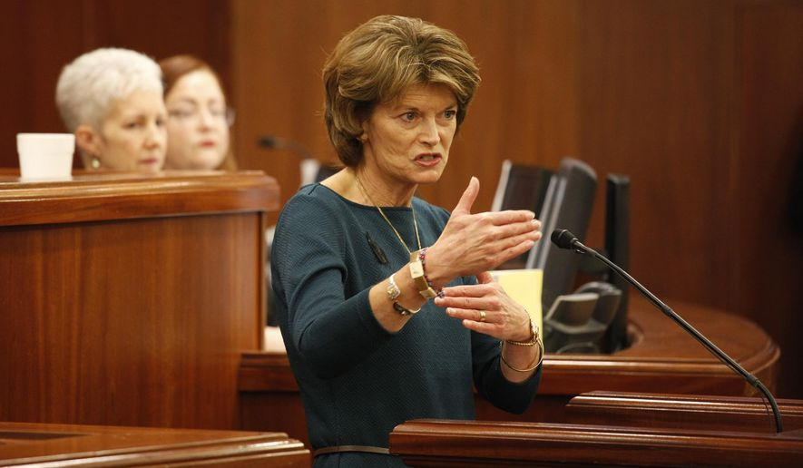 Sen. Lisa Murkowski, R-Alaska, gives her annual address to Alaska lawmakers on Wednesday, Feb. 17, 2016, in Juneau, Alaska. (AP Photo/Rashah McChesney) ** FILE **