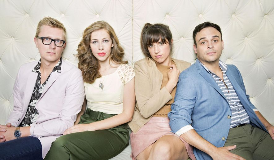 """This image released by Big Hassle Media show members of Lake Street Dive, from left, Mike Olson, Rachael Price, Bridget Kearney and Mike Calabrese. The band credits actor Kevin Bacon with boosting their career. Bacon tweeted a link to the band's video of a slow, sultry version of the Jackson 5's """"I Want You Back,"""" and it quickly spread. In three years, the cover has been seen on YouTube more than 3.5 million times. (Danny Clinch/Big Hassle Media vis AP)"""