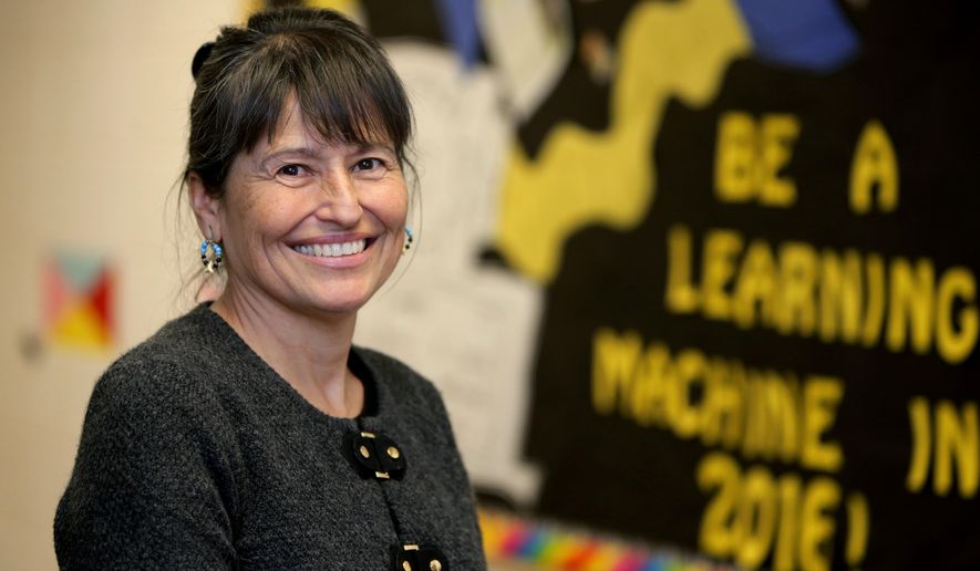 ADVANCE FOR THE WEEKEND OF FEB. 20 - In this Wednesday, Feb. 3, 2016 photo, Charitina Fritzler, the executive director of the First People's Center for Education, poses for a photo in Billings, Mont. The nonprofit that offers math training to schools working with Native American students plans to close at the end of the school year after several years of funding struggles. (Casey Page/The Billings Gazette via AP) MANDATORY CREDIT