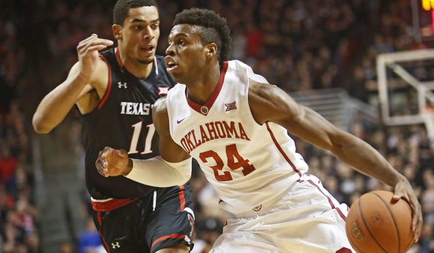 Oklahoma's Buddy Hield dribbles the ball past Texas Tech's Zach Smith during the first half of an NCAA college basketball game on Wednesday, Feb. 17, 2016 in Lubbock, Texas. (AP Photo/Brad Tollefson)