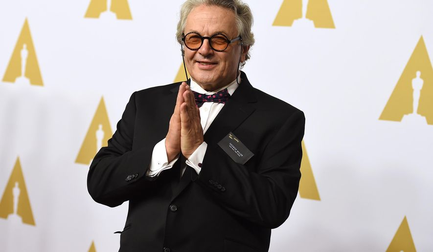 "In this Monday, Feb. 8, 2016 file photo, George Miller arrives at the 88th Academy Awards Nominees Luncheon at The Beverly Hilton hotel in Beverly Hills, Calif. No film was further removed from the Academy Awards than Miller's apocalyptic fireball ""Mad Max: Fury Road."" But the 10-time nominated ""Mad Max"" may well come away with more wins at the Academy Awards on Feb. 28 than any other film. (Photo by Jordan Strauss/Invision/AP, File)"