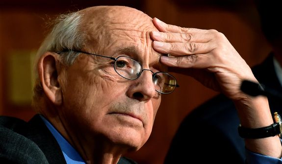 Supreme Court Justice Stephen Breyer pauses before speaking at Yale Law School in New Haven, Conn., on Wednesday, Feb. 17, 2016. (Peter Hvizdak/New Haven Register via AP) ** FILE **