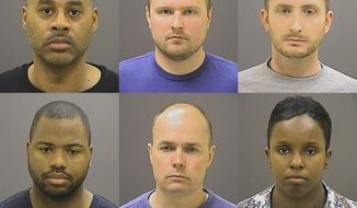 These undated photos provided by the Baltimore Police Department, show Baltimore police officers, top row from left, Caesar R. Goodson Jr., Garrett E. Miller and Edward M. Nero, and bottom row from left, William G. Porter, Brian W. Rice and Alicia D. White, charged with felonies ranging from assault to murder in the police-custody death of Freddie Gray. (Baltimore Police Department via AP, File)