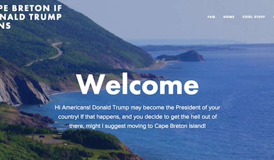 The home page of a tourism site for Cape Breton Island, Nova Scotia urges Americans to move to the Canadian island should Donald Trump become president in 2016. (Image: Screenshot)
