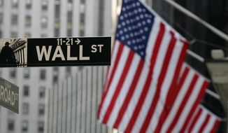 A Wall Street sign is shown in New York in this Sept. 17, 2008, file photo. (AP Photo/Mark Lennihan)