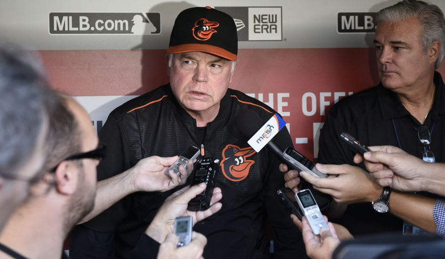 FILE - In this Sept. 23, 2015, file photo, Baltimore Orioles manager Buck Showalter talks to reporters before an interleague baseball game against the Washington Nationals, in Washington. After a productive offseason where they retained three of their mainstays, the Baltimore Orioles began spring training hoping that they may add even more quality players. (AP Photo/Nick Wass, File)
