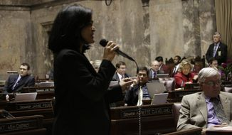 """There have been no sex offenders that have been posing as transgender people to get into bathrooms,"" said Democratic Washington state Sen. Pramila Jayapal during floor debate on the transgender rule. (Associated Press)"