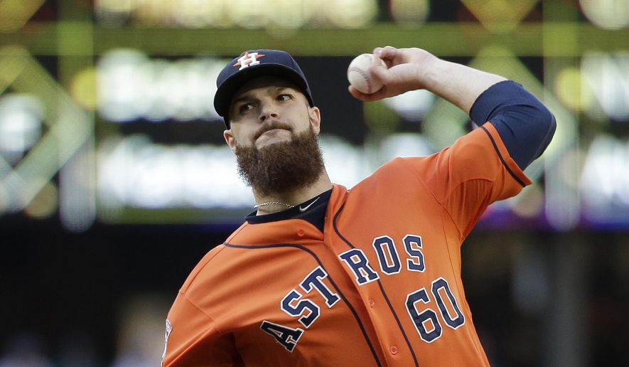 FILE - In this Saturday, June 20, 2015, file photo, Houston Astros starting pitcher Dallas Keuchel in action against the Seattle Mariners in a baseball game in Seattle. AL Cy Young Award winner Dallas Keuchel received the steepest increase among the 156 players in salary arbitration this year, according to a study by The Associated Press, Thursday, Feb. 18, 2016. (AP Photo/Elaine Thompson, File)