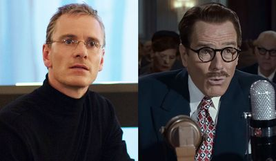 """Michael Fassbender stars in """"Steve Jobs"""" and Bryan Cranston stars as Dalton Trumbo in """"Trumbo,"""" now available on Blu-ray."""