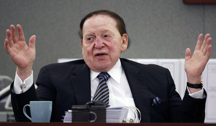 FILE - In this May 5, 2015, file photo, Las Vegas Sands Corp. Chairman and CEO Sheldon Adelson testifies in court in Las Vegas. The company owned by Adelson lost a bid to oust the Nevada judge handling a years-long legal fight by a former Macau casino executive who claims wrongful termination. A ruling Wednesday, Feb. 17, 2016, by Chief Clark County District Court Judge David Barker leaves Judge Elizabeth Gonzalez on the case filed in 2010 by former Sands China chief executive Steven Jacobs. (AP Photo/John Locher, File)