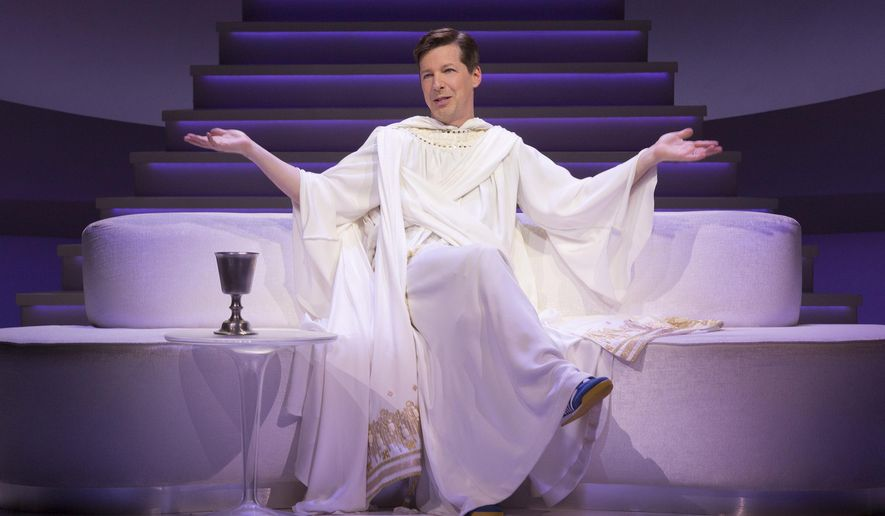 "This image released by Polk & Co. shows Sean Hayes portraying God in a scene from ""An Act of God."" He has the title role in the West Coast production of the play, a cheeky take on the Almighty and what he really thinks of his imperfect human charges. (Jim Cox/Polk & Co. via AP)"