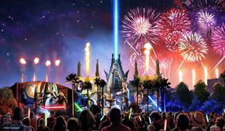 """Starting in summer 2016, a new Star Wars fireworks show, """"Star Wars: A Galactic Spectacular,"""" will debut to guests at Disney's Hollywood Studios. The nightly show will combine fireworks, pyrotechnics, special effects and video projections that will turn the nearby buildings into the twin suns of Tatooine, a field of battle droids, the trench of the Death Star, Starkiller Base and other Star Wars destinations. The show also will feature a tower of fire and spotlight beams, creating massive lightsabers in the sky. (Disney/Lucasfilm) (PRNewsFoto/Walt Disney World Resort)"""