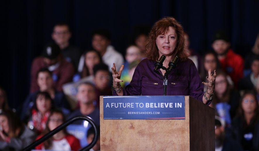 Actress Susan Sarandon speaks during a rally for Democratic presidential candidate, Sen. Bernie Sanders, I-Vt., Friday,  Feb. 19, 2016, in Reno, Nev. (AP Photo/Marcio Jose Sanchez)