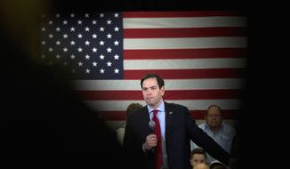 Republican presidential candidate, Sen. Marco Rubio, R-Fla. speaks during a rally, Friday, Feb. 19, 2016, in Columbia, S.C. (AP Photo/John Bazemore)