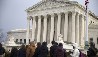 People wait in line outside the Supreme Court in Washington, Friday, Feb. 19, 2016, to pay their respects to Justice Antonin Scalia who is lying in repose in the Great Hall. (AP Photo/Evan Vucci)