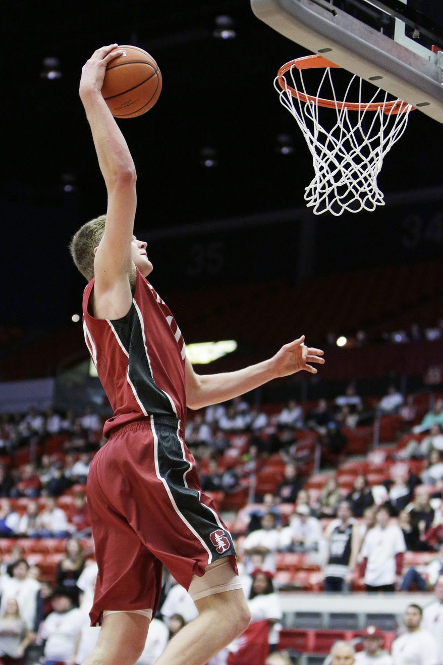 Stanford's Michael Humphrey goes up for a dunk during the second half of an NCAA college basketball game against Washington State, Thursday, Feb. 18, 2016, in Pullman, Wash. Stanford won 72-56. (AP Photo/Young Kwak)