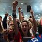 Members of the crowd cheer before Republican presidential candidate, Sen. Ted Cruz, R-Texas, appears for his South Carolina primary night rally at the South Carolina State Fairgrounds in Columbia, S.C., Saturday, Feb. 20, 2016. (AP Photo/Andrew Harnik)