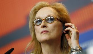 In this Thursday, Feb. 11, 2016, file photo, Jury President Meryl Streep attends a press conference at the 2016 Berlinale Film Festival in Berlin, Germany. (AP Photo/Axel Schmidt, File)