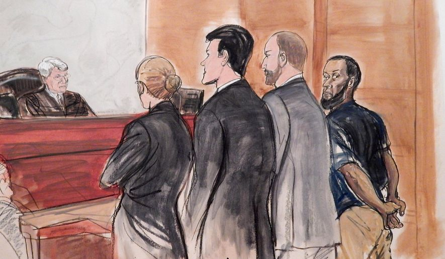 FILE . In this March 18, 2015 file courtroom sketch, Tairod Nathan Webster Pugh, right, a U.S. Air Force veteran and former airplane mechanic charged with attempting to join the Islamic State group in Syria, stands with his uncuffed hands behind back during his arraignment, before Judge Nicholas Garaufis, left, in a federal courthouse in the Brooklyn borough of New York. Scheduled to go on trial this week in New York, Pugh stands out somewhat from dozens of other Americans charged with conspiring to join the militant group. He is middle aged and had a seemingly solid background in the military and a career in avionics.  (AP Photo/Elizabeth Williams, File)