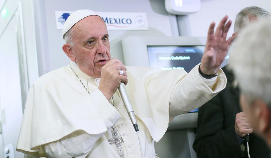 FILE - In this Feb. 17, 2016, file photo, Pope Francis meets journalists aboard the plane during the flight from Ciudad Juarez, Mexico to Rome, Italy. Despite their staunch opposition to contraceptives, Philippine Roman Catholic bishops expressed their full support Saturday, Feb. 20 to Pope Francis' remarks suggesting artificial contraception can be used by women threatened by the Zika virus. (Alessandro Di Meo/Pool Photo via AP, File)