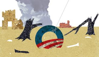 Illustration on Obama's national security legacy by Alexander Hunter/The Washington Times